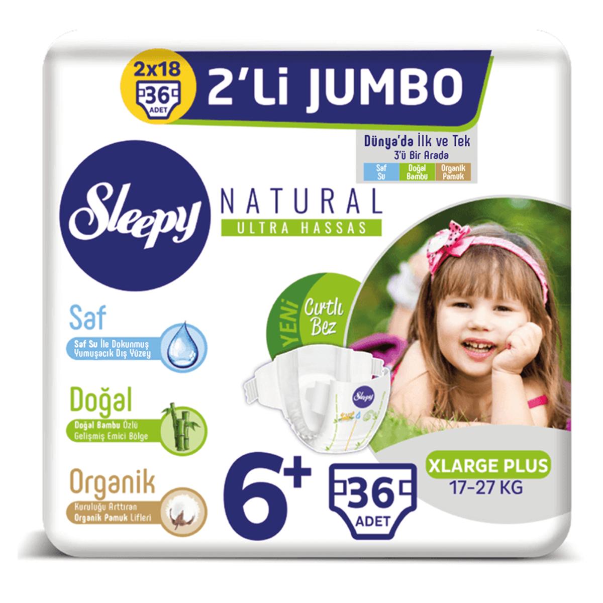 Sleepy Natural Bebek Bezi 6+ Numara Xlarge Plus 2'Lİ JUMBO 36 Adet