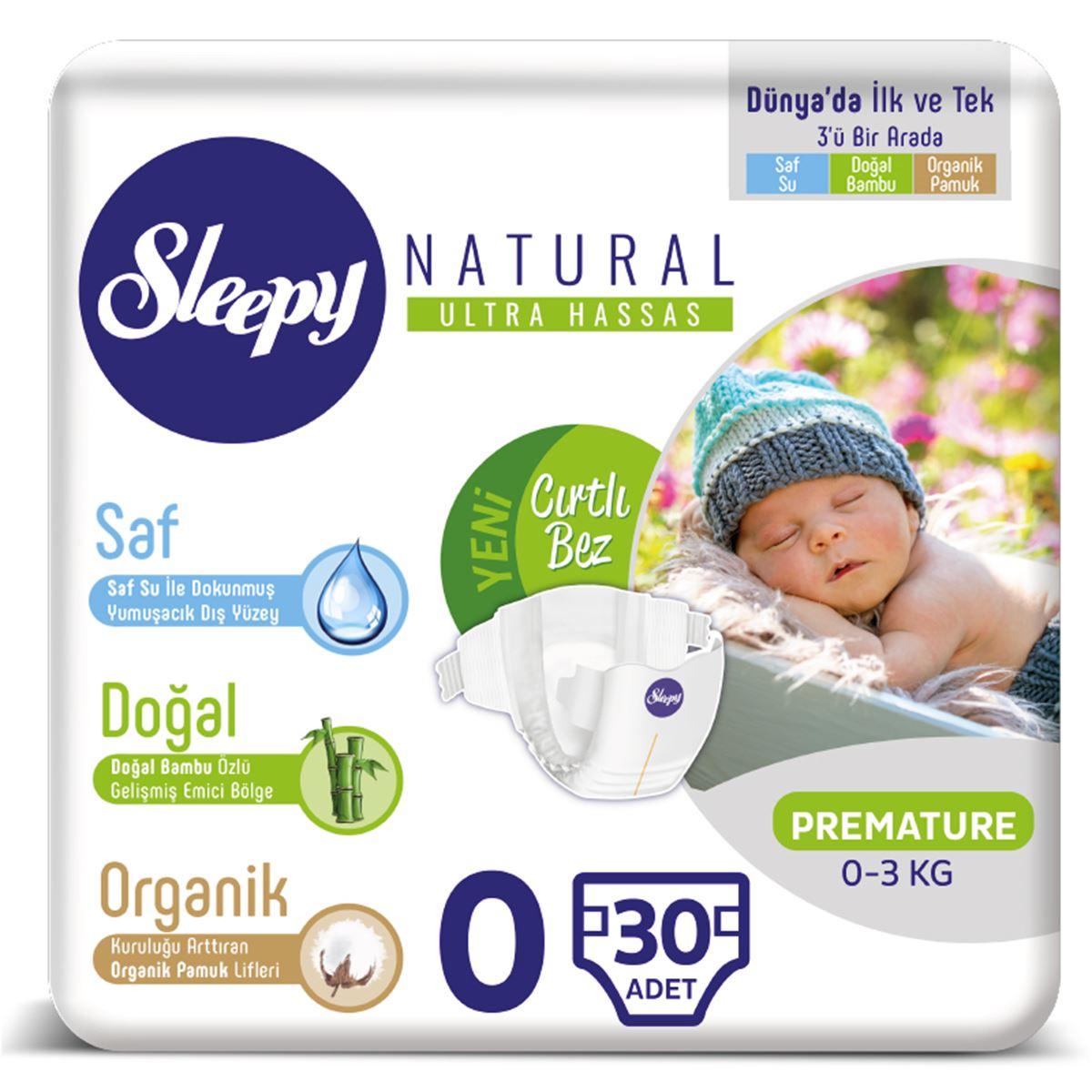 Sleepy Natural Bebek Bezi 0 Numara Prematüre 30 Adet