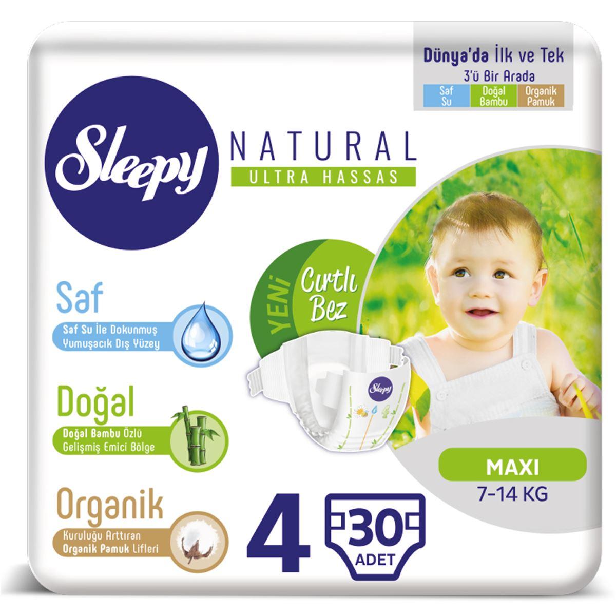 Sleepy Natural Bebek Bezi 4 Numara Maxi 30 Adet