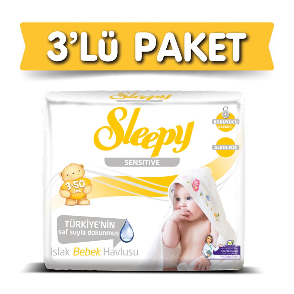 3'lü Sleepy Sensitive Islak Havlu 3x50
