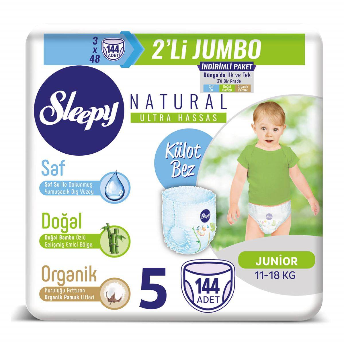 Sleepy Natural Külot Bez 5 Numara Junior 3X2'Lİ JUMBO