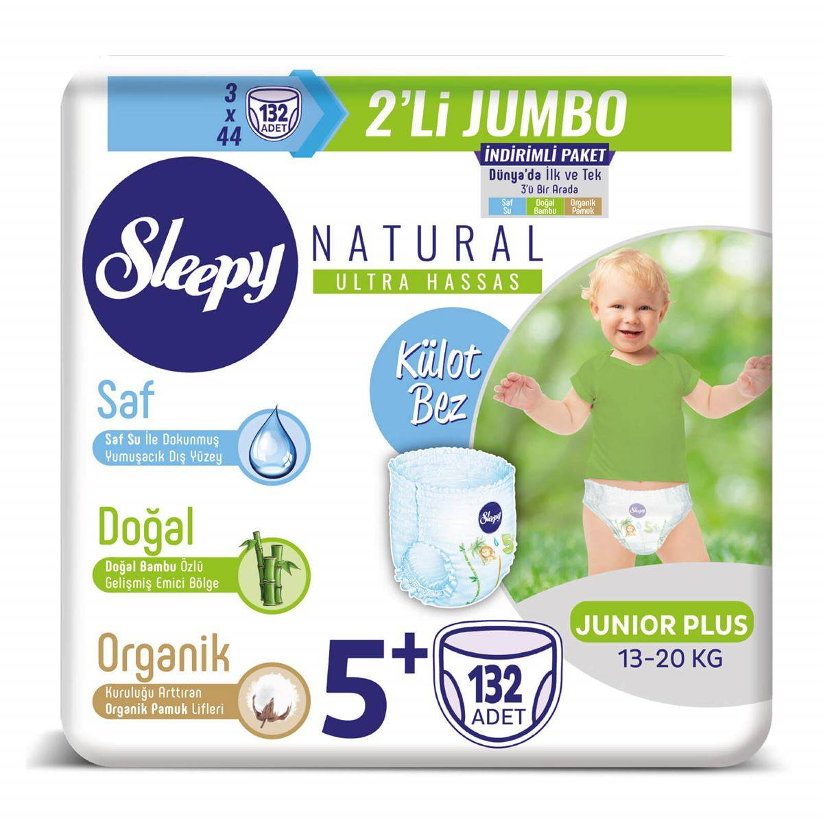 Sleepy Natural Külot Bez 5+ Numara Junior Plus 3X2'Lİ JUMBO