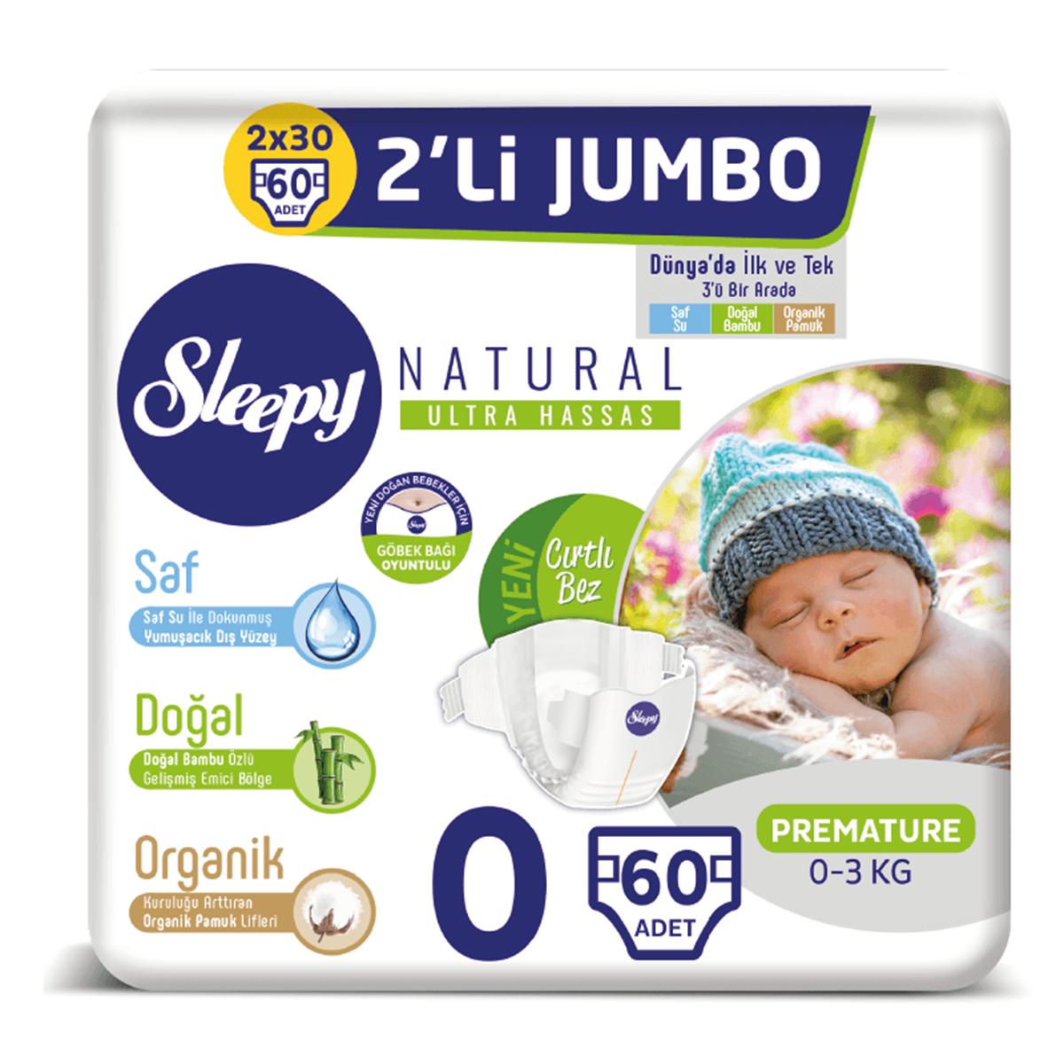 Sleepy Natural Bebek Bezi 0 Numara Prematüre 2'Lİ JUMBO 60 Adet