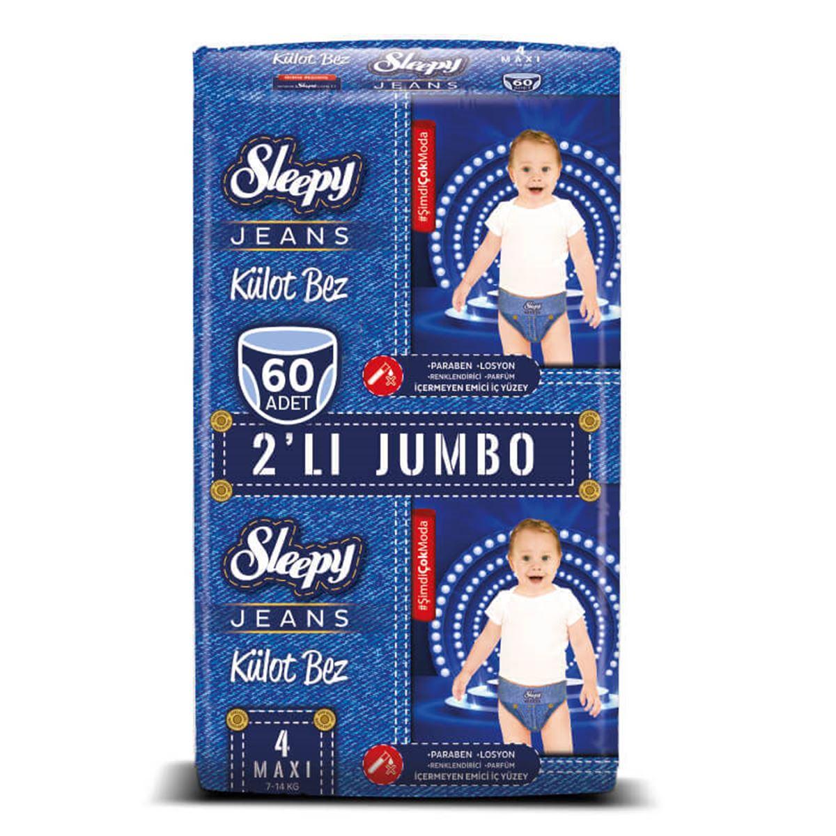 Sleepy Jeans KÜLOT Bez 4 Numara Maxi 2'Lİ JUMBO 60 Adet