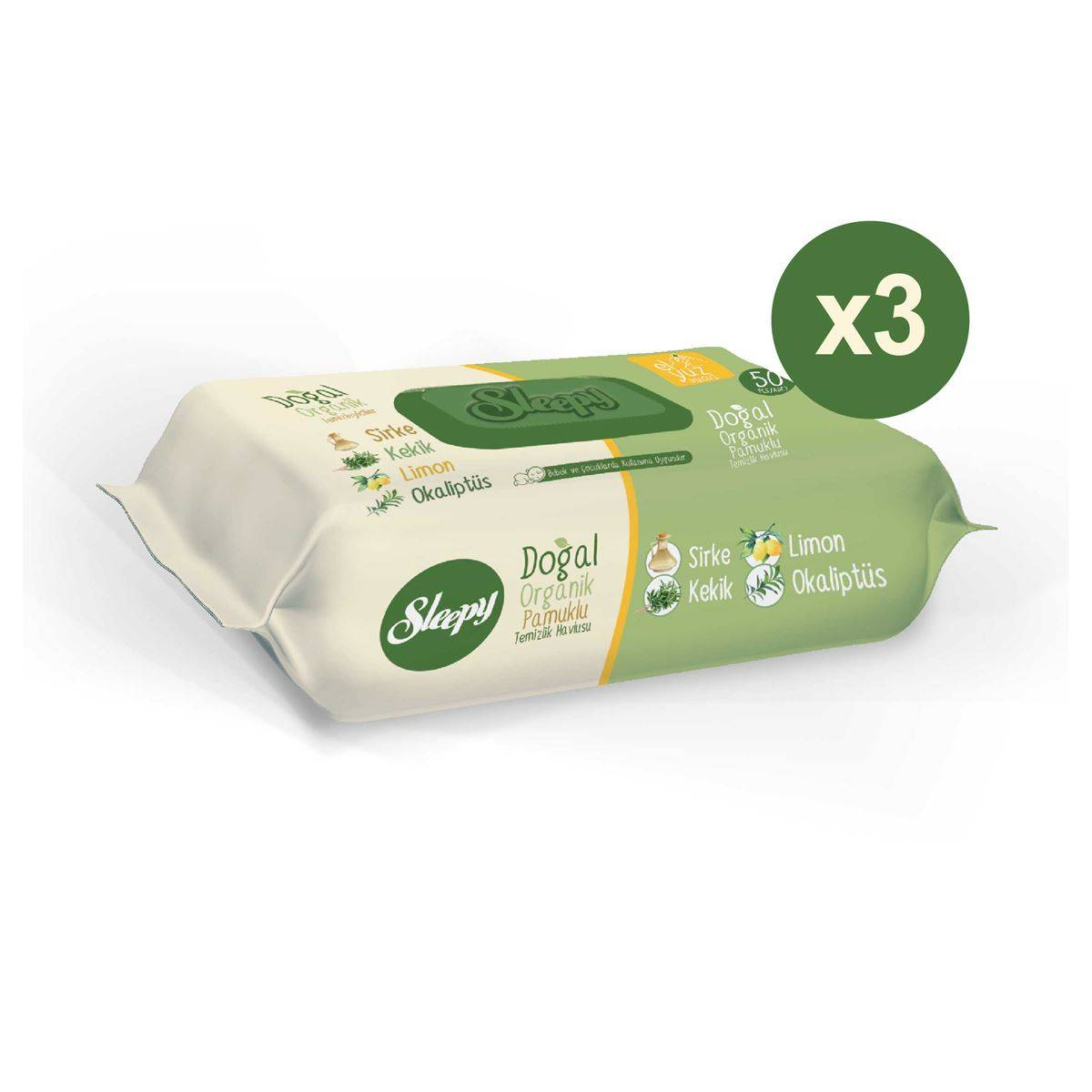 Sleepy Doğal Organik Pamuklu Temizlik Havlusu 3x50