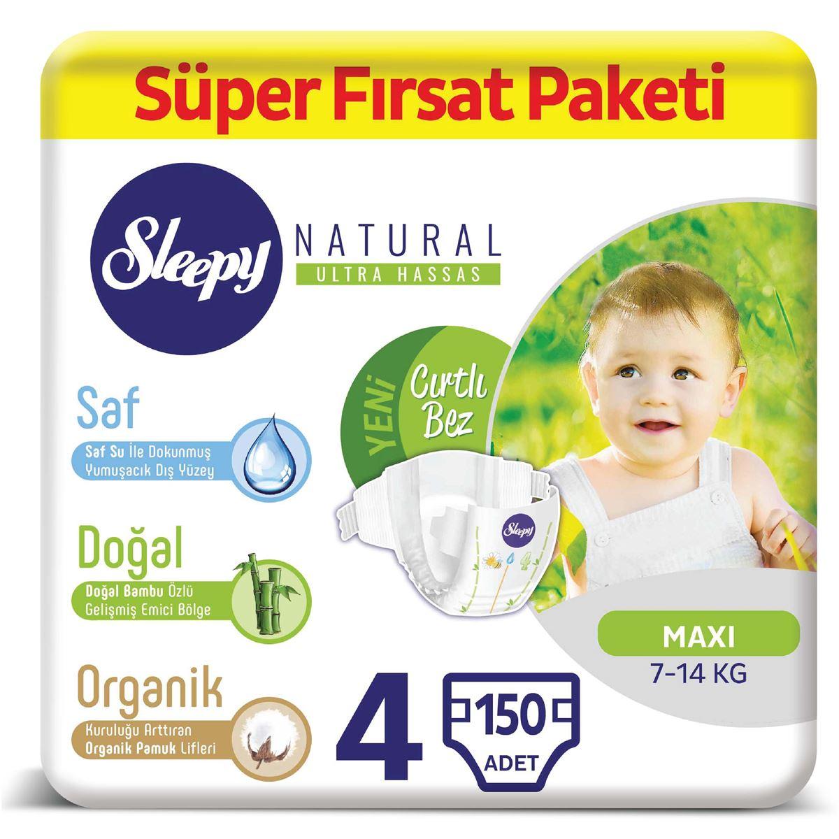 Sleepy Natural Bebek Bezi 4 Numara Maxi Süper Fırsat Paketi 150 Adet