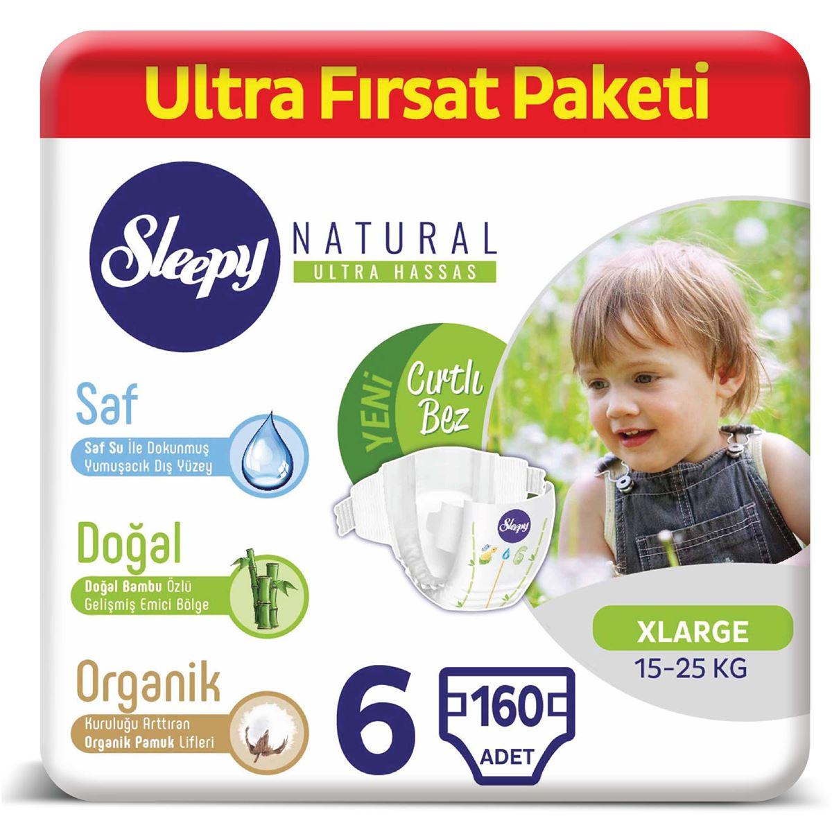 Sleepy Natural Bebek Bezi 6 Numara Xlarge Ultra Fırsat Paketi 160 Adet