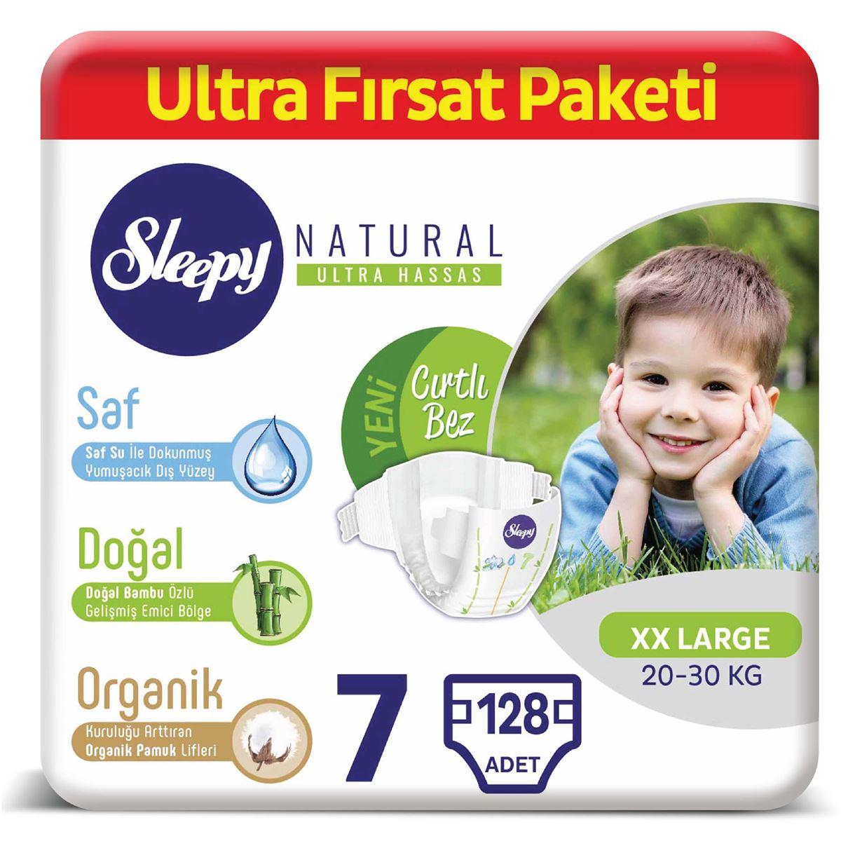 Sleepy Natural Bebek Bezi 7 Numara XXLarge Ultra Fırsat Paketi 128 Adet