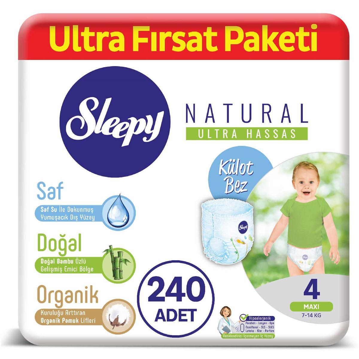 Sleepy Natural KÜLOT Bez 4 Numara Maxi Ultra Fırsat Paketi 240 Adet