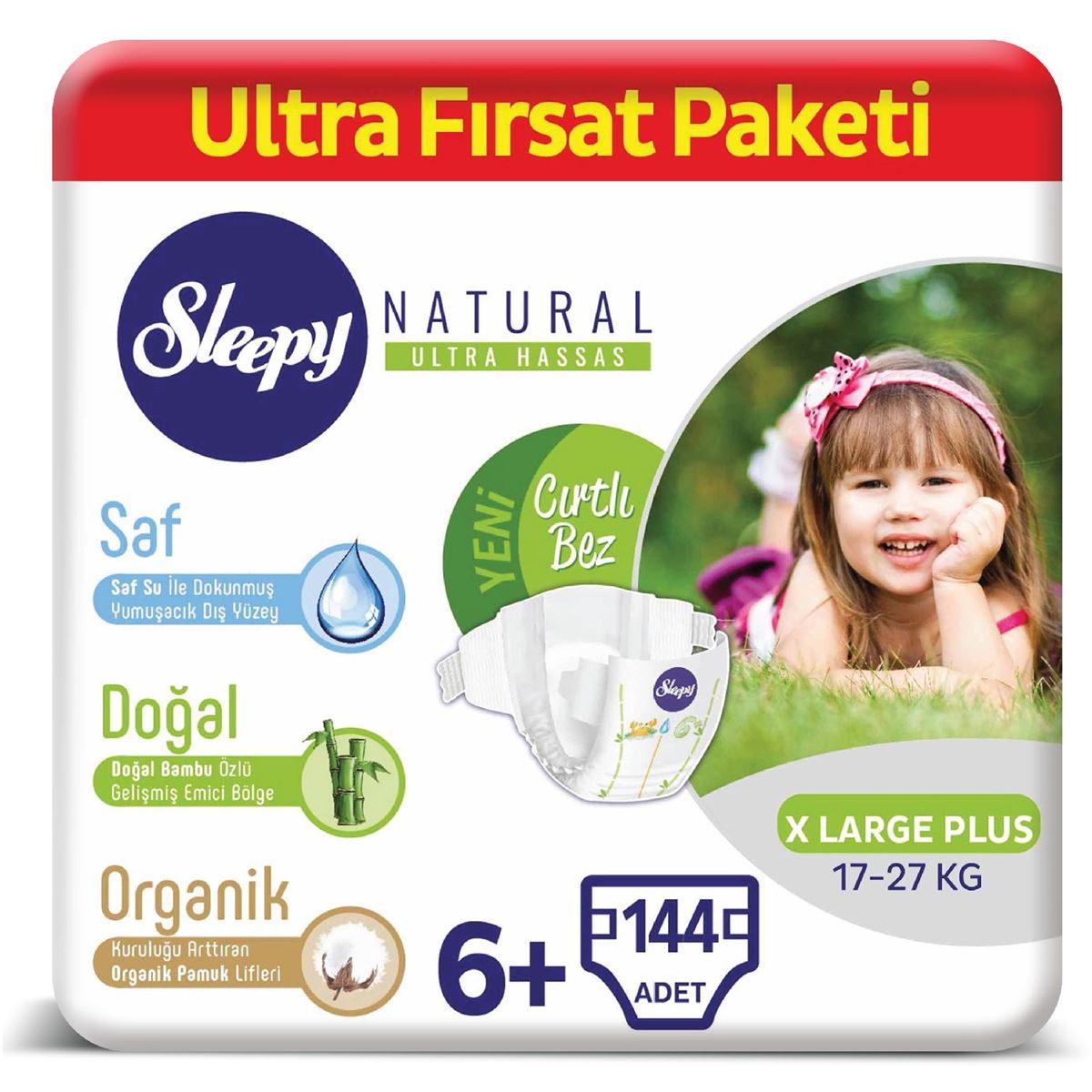 Sleepy Natural Bebek Bezi 6+ Numara Xlarge Plus Ultra Fırsat Paketi 144 Adet