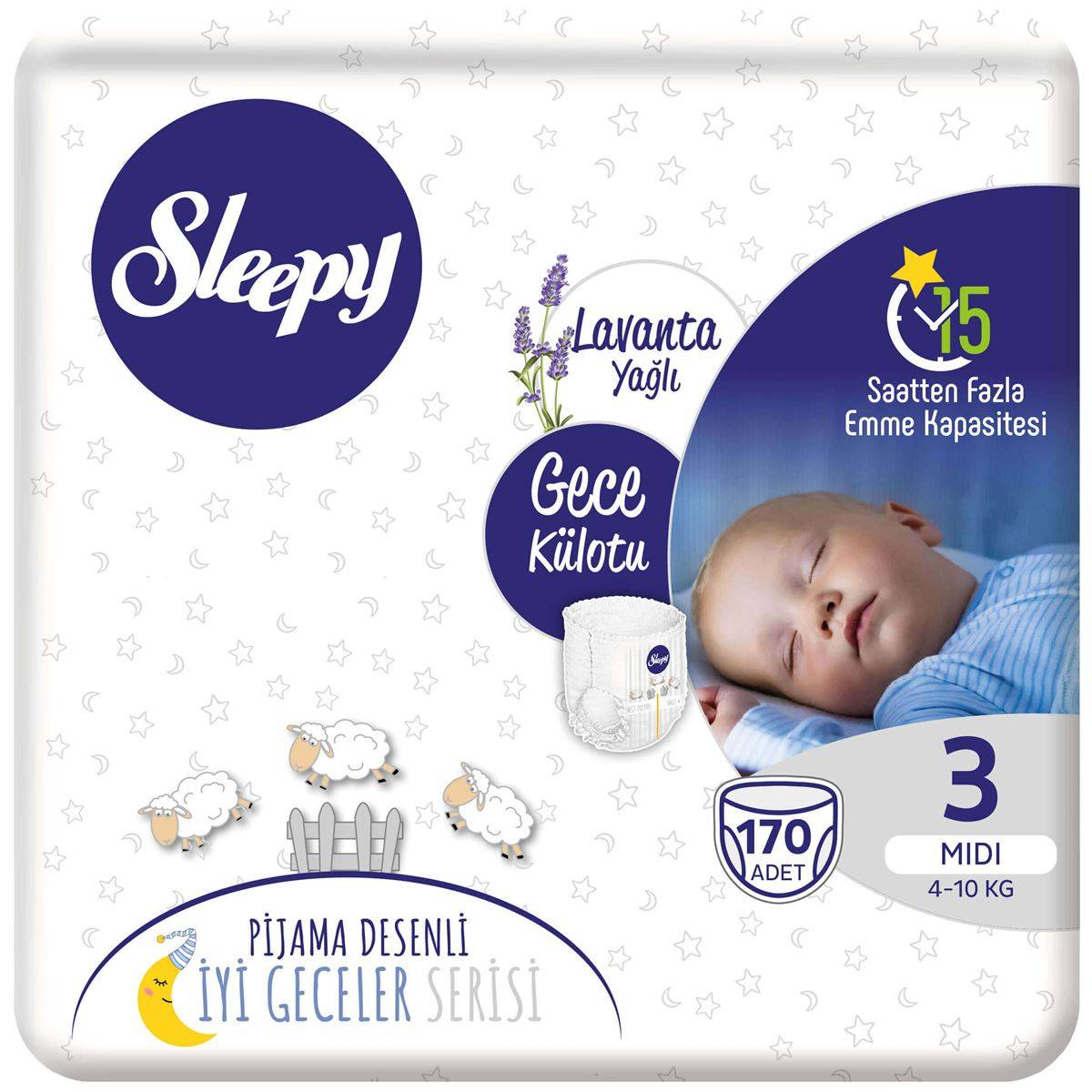 Sleepy Gece Külotu 3 Numara Midi 170 Adet