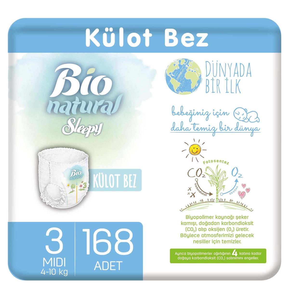 Bio Natural Külot Bez 3 Numara Midi 168 Adet