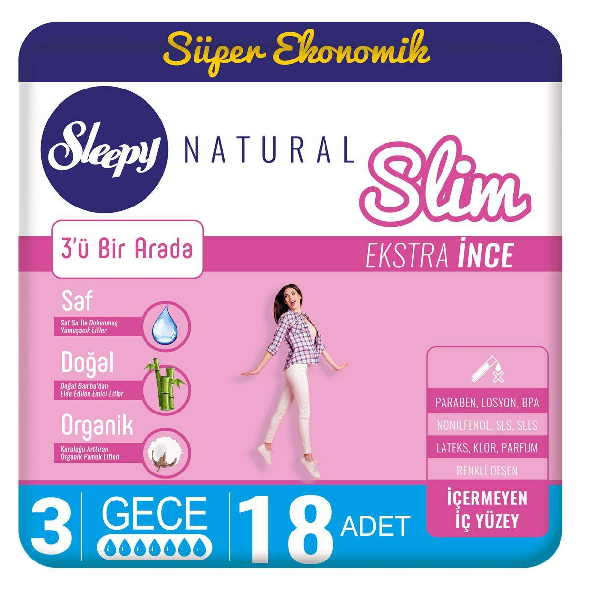 Sleepy Natural Slim Ekstra İnce Gece(18 Ped)
