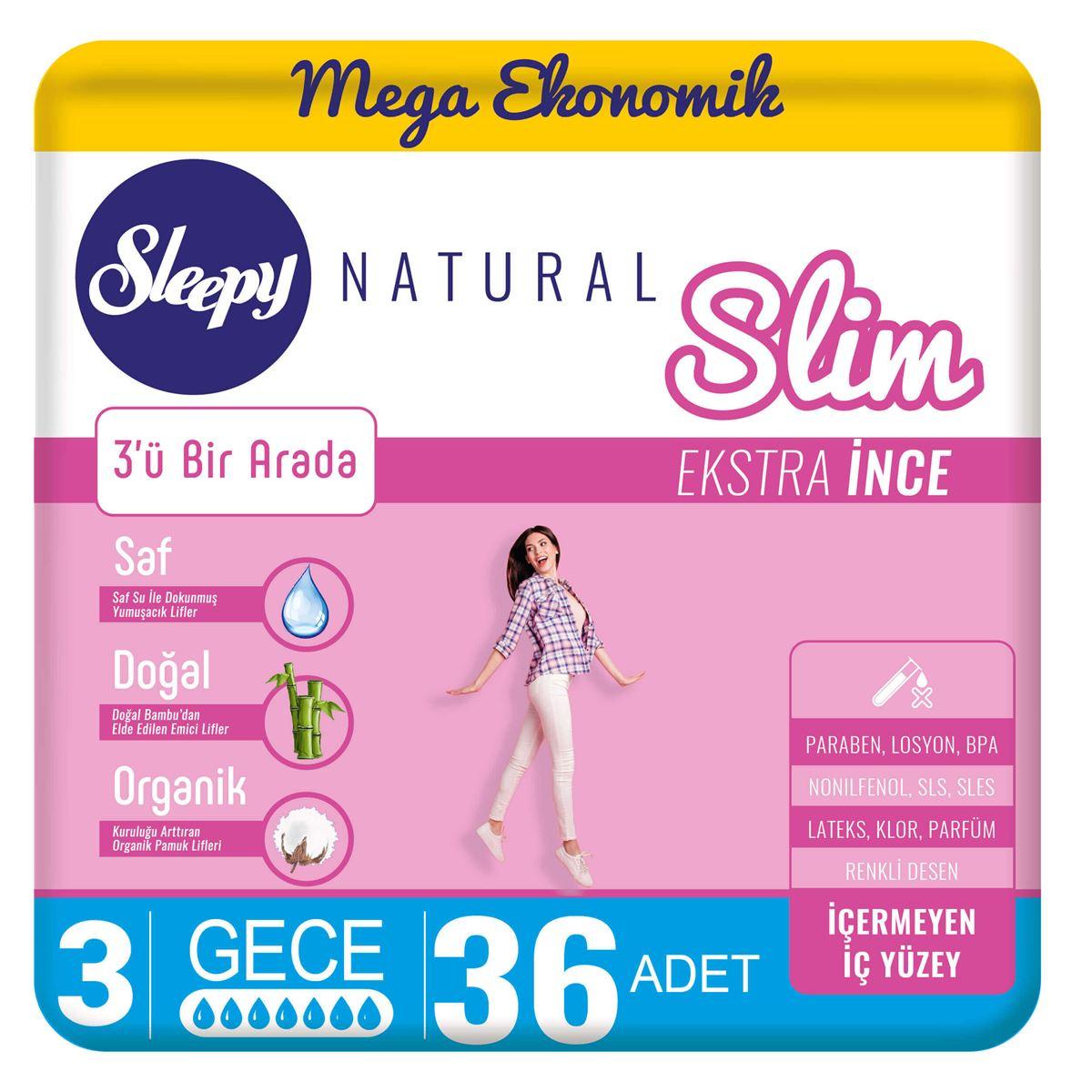 Sleepy Natural Slim Ekstra İnce Gece(36 Ped)