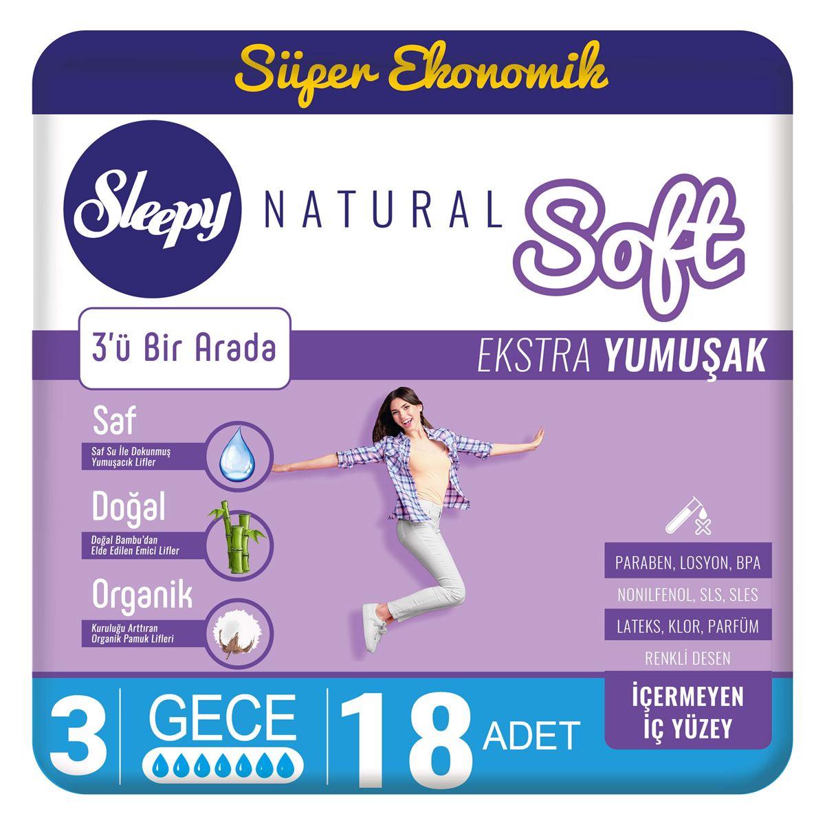 Sleepy Natural Soft Ekstra Yumuşak Gece(18 Ped)