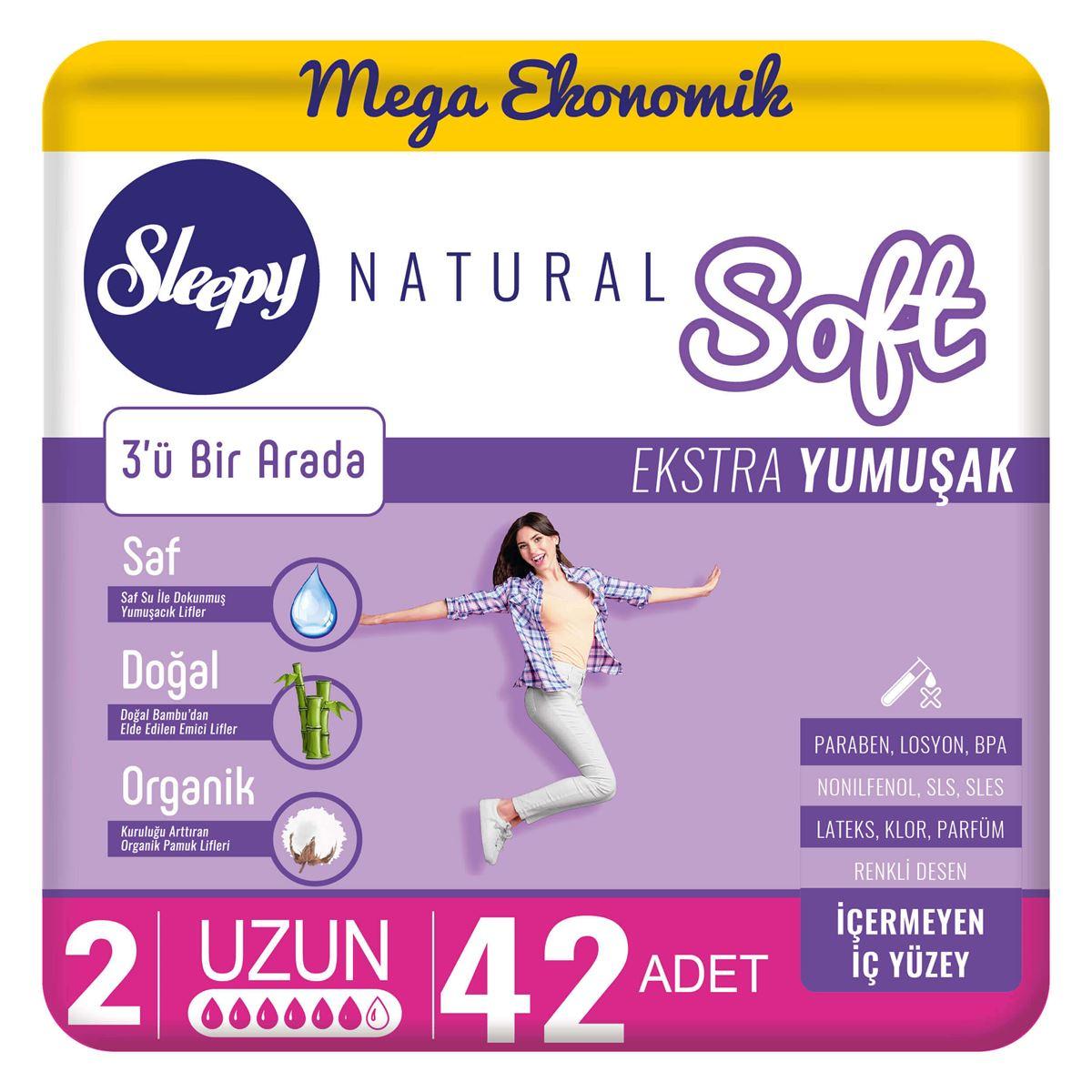 Sleepy Natural Soft Ekstra Yumuşak Uzun(42 Ped)