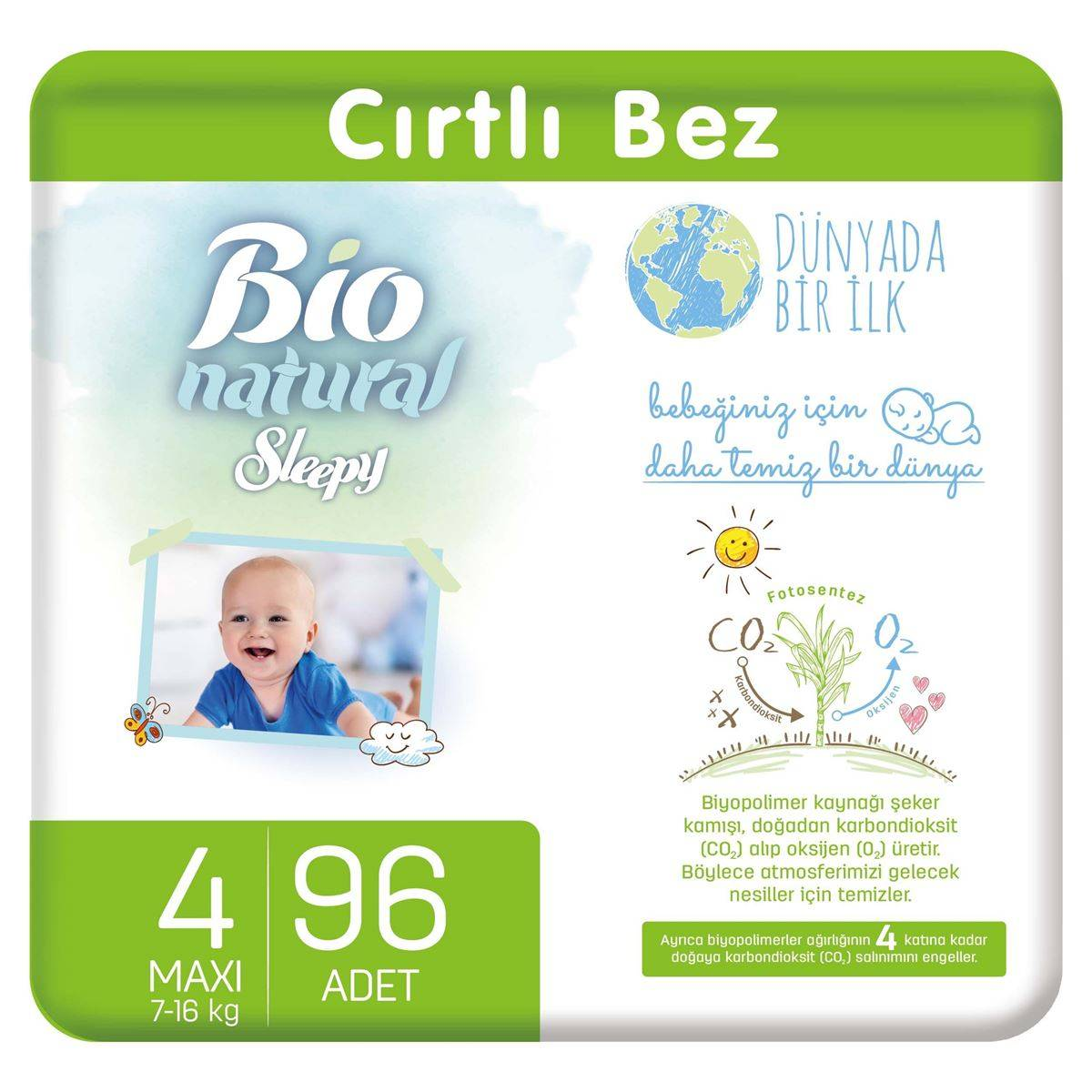 Bio Natural Bebek Bezi 4 Numara Maxi 96 Adet