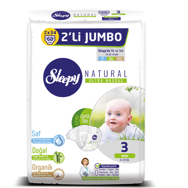 Sleepy Natural Bebek Bezi 3 Numara Midi 2'Lİ JUMBO 68 Adet