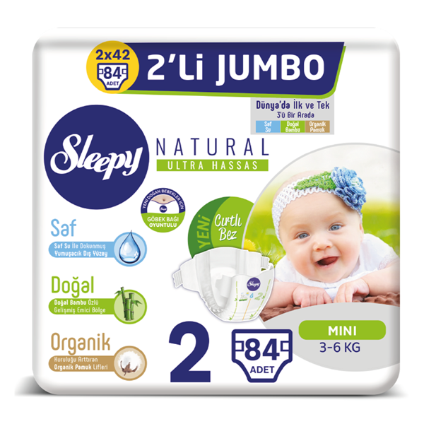 Sleepy Natural Bebek Bezi 2 Numara Mini 2'Lİ JUMBO 84 Adet