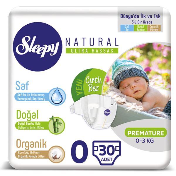 Resim Sleepy Natural Bebek Bezi 0 Numara Prematüre 30 Adet