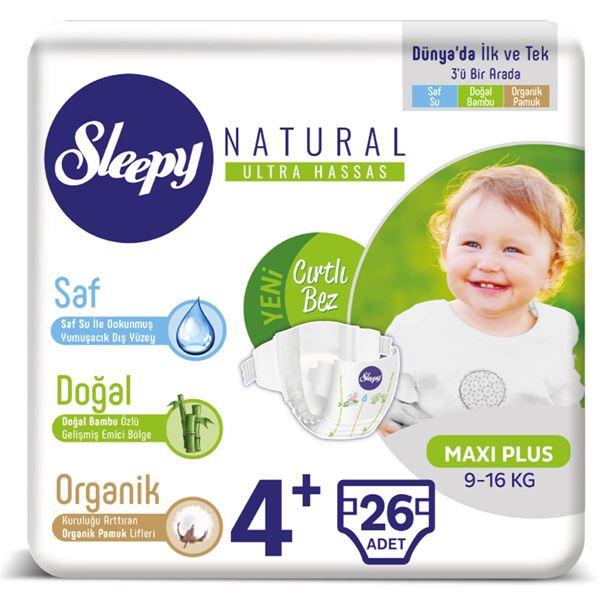 Resim Sleepy Natural Bebek Bezi 4+ Numara Maxi Plus 26 Adet