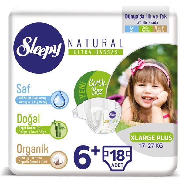 Resim Sleepy Natural Bebek Bezi 6+ Numara Xlarge Plus 18 Adet