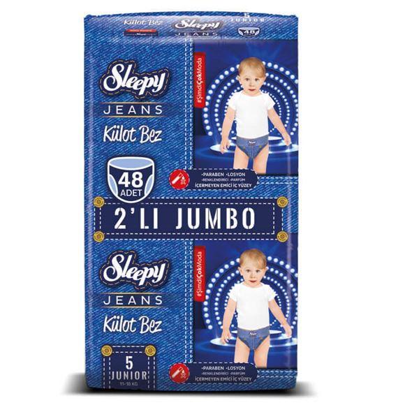 Resim Sleepy Jeans KÜLOT Bez 5 Numara Junior 2'Lİ JUMBO 48 Adet
