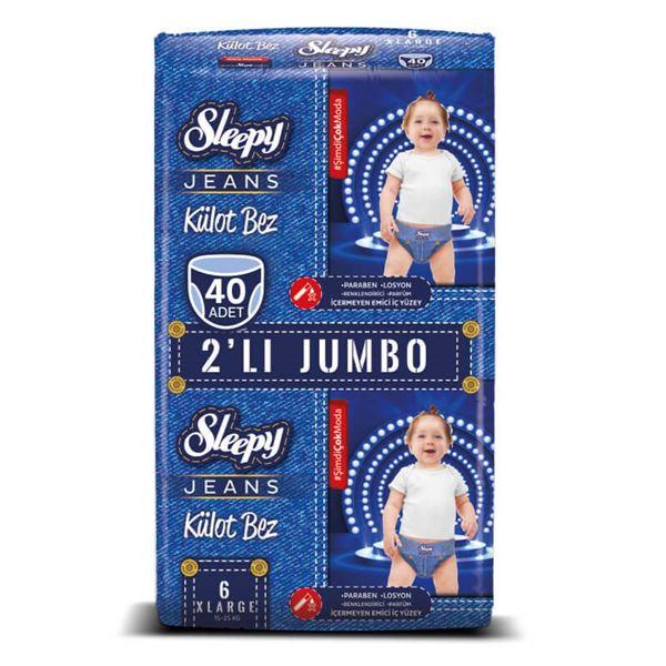 Resim Sleepy Jeans KÜLOT Bez 6 Numara Xlarge 2'Lİ JUMBO 40 Adet