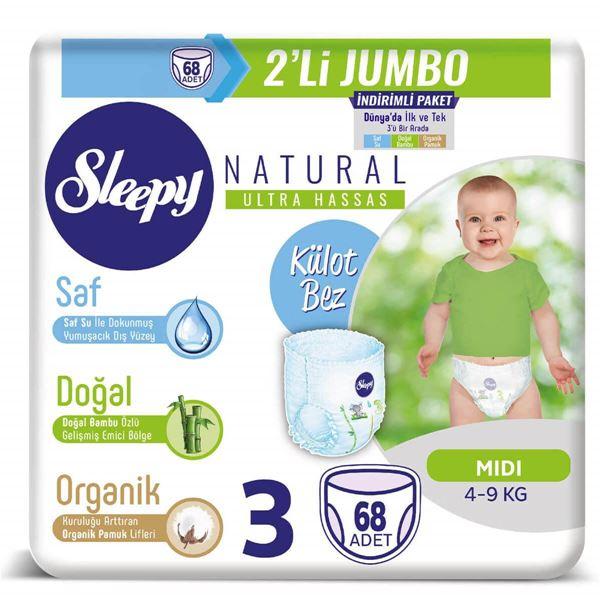 Sleepy Natural KÜLOT Bez 3 Numara Midi 2'Lİ JUMBO 68 Adet