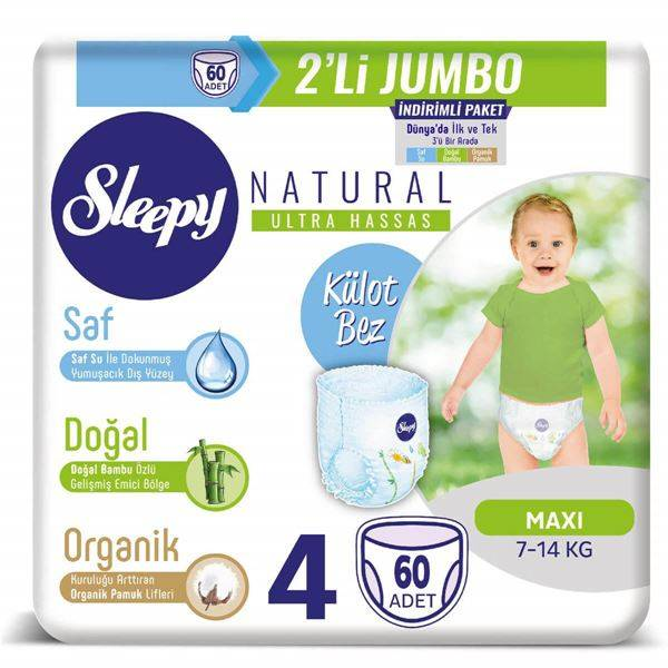 Sleepy Natural KÜLOT Bez 4 Numara Maxi 2'Lİ JUMBO 60 Adet