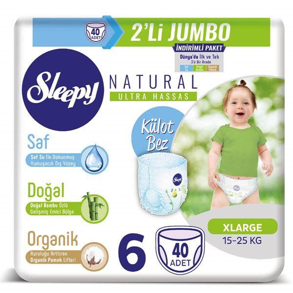 Resim Sleepy Natural KÜLOT Bez 6 Numara Xlarge  2'Lİ JUMBO 40 Adet
