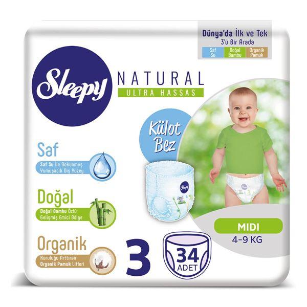 Sleepy Natural KÜLOT Bez 3 Numara Midi 34 Adet