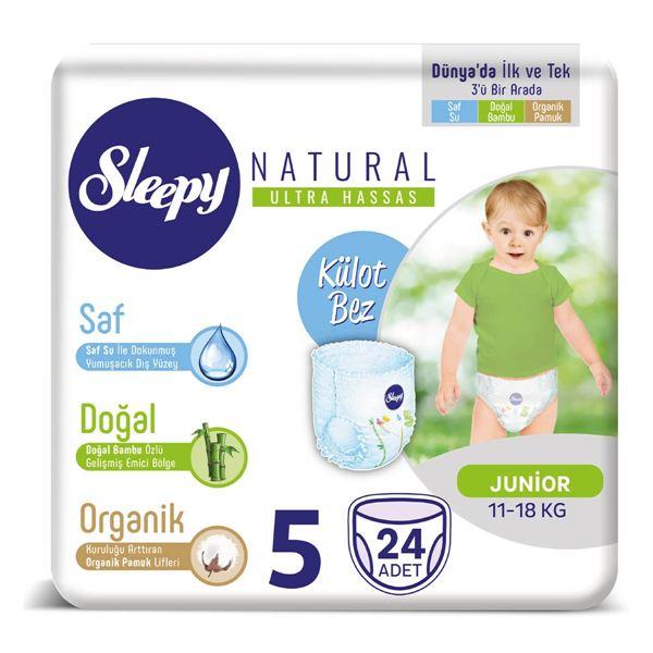 Resim Sleepy Natural KÜLOT Bez 5 Numara Junior 24 Adet
