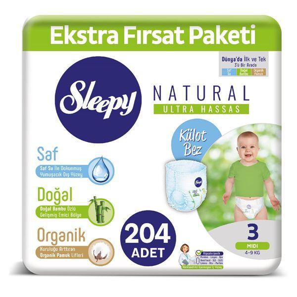 Sleepy Natural KÜLOT Bez 3 Numara Midi Ekstra Fırsat Paketi 204 Adet