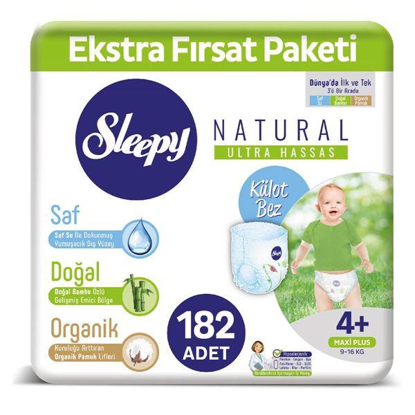 Sleepy Natural KÜLOT Bez 4+ Numara Maxi Plus Ekstra Fırsat Paketi 182 Adet