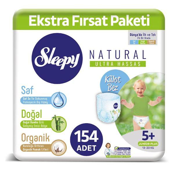 Resim Sleepy Natural KÜLOT Bez 5+ Numara Junior Plus Ekstra Fırsat Paketi 154 Adet