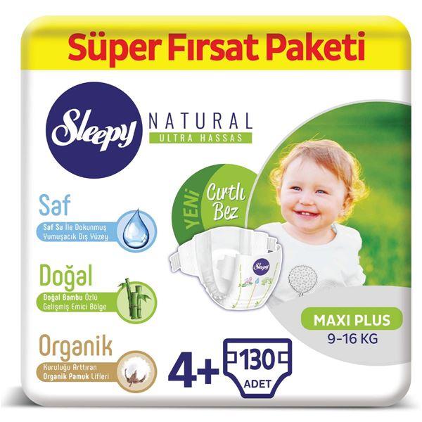 Sleepy Natural Bebek Bezi 4+ Numara Maxi Plus Süper Fırsat Paketi 130 Adet