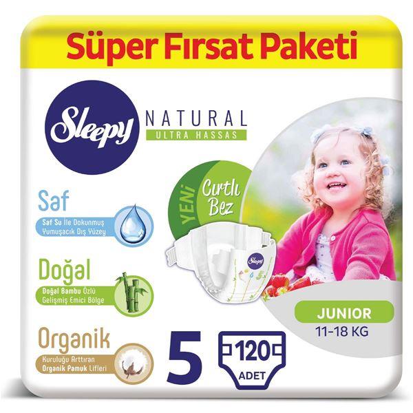 Resim Sleepy Natural Bebek Bezi 5 Numara Junior Süper Fırsat Paketi 120 Adet