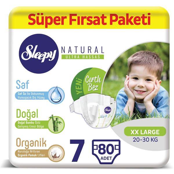 Resim Sleepy Natural Bebek Bezi 7 Numara XXLarge Süper Fırsat Paketi 80 Adet