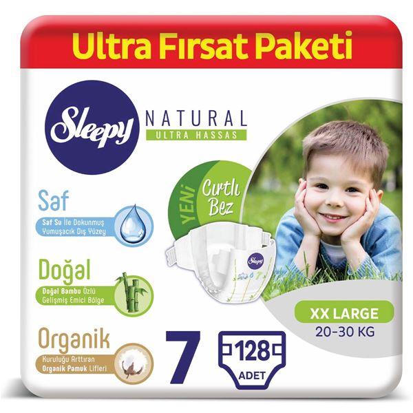 Resim Sleepy Natural Bebek Bezi 7 Numara XXLarge Ultra Fırsat Paketi 128 Adet