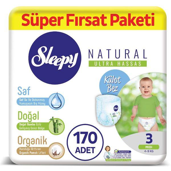 Resim Sleepy Natural KÜLOT Bez 3 Numara Midi Süper Fırsat Paketi 170 Adet