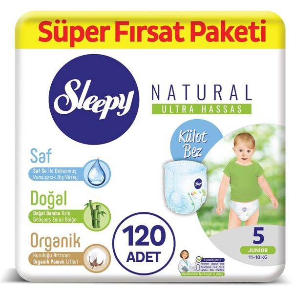 Resim Sleepy Natural KÜLOT Bez 5 Numara Junior Süper Fırsat Paketi 120 Adet