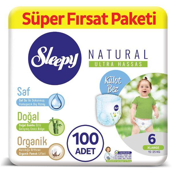 Resim Sleepy Natural KÜLOT Bez 6 Numara Xlarge Süper Fırsat Paketi 100 Adet