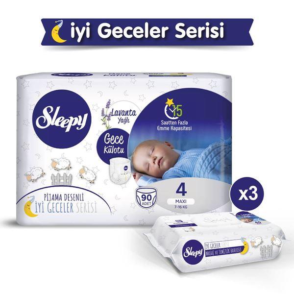 Sleepy Gece Külotu 4 Numara Maxi 90 Adet + Lavanta Yağlı Masaj Ve Temizlik Havlusu 3X40