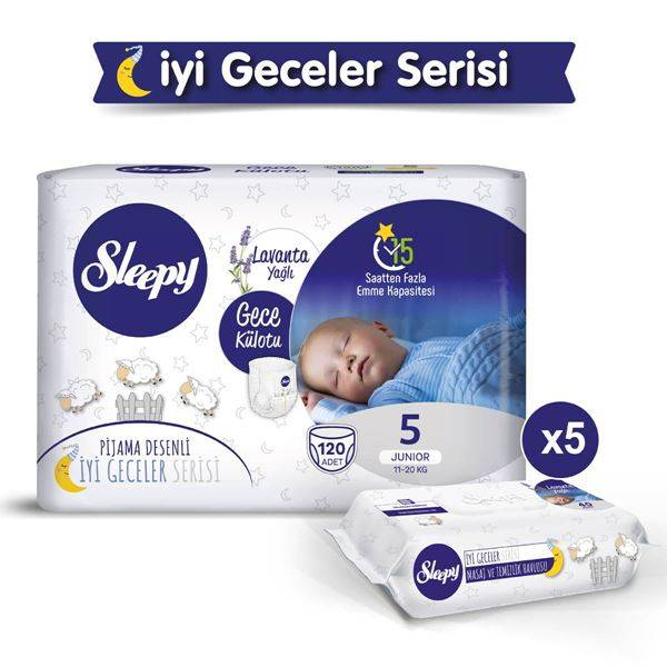 Sleepy Gece Külotu 5 Numara Junıor 120 Adet + Lavanta Yağlı Masaj Ve Temizlik Havlusu 5X40