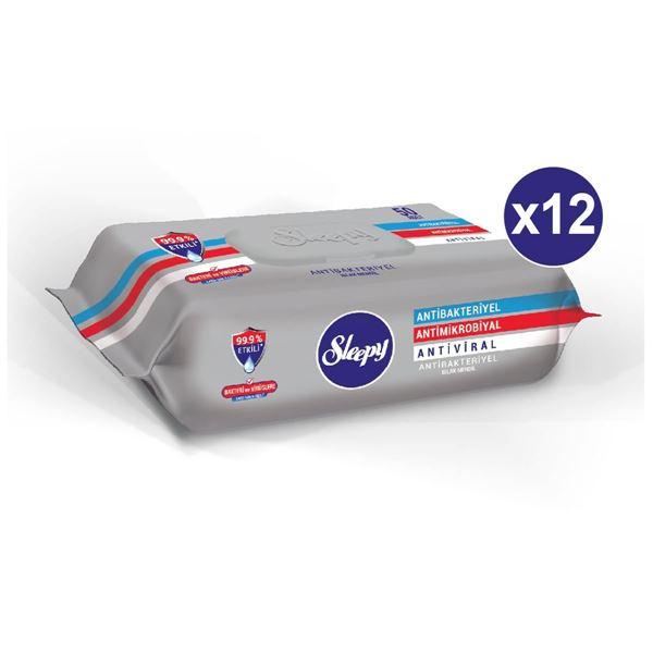 Sleepy Antibakteriyel Islak Havlu 12x50 Gri Paket