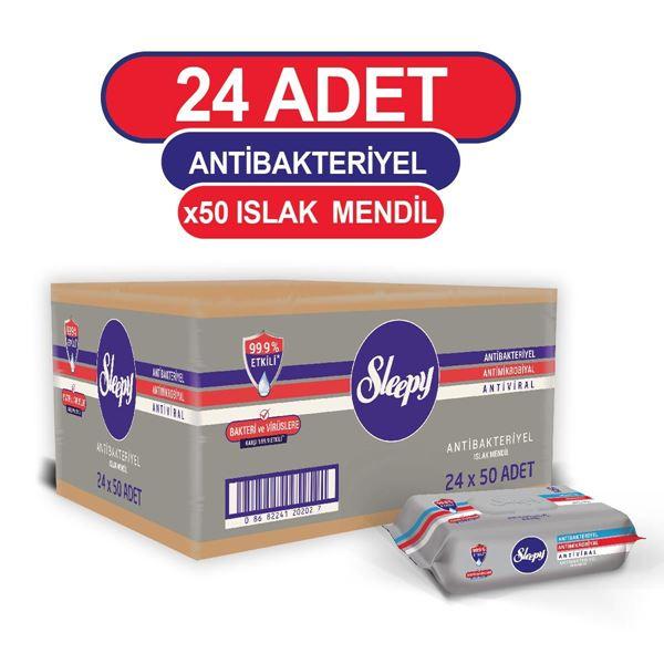 Sleepy Antibakteriyel Islak Havlu 24x50 Gri Paket