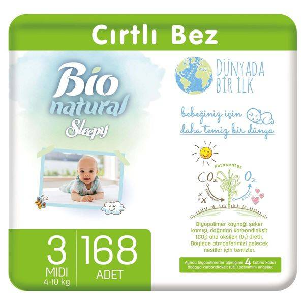 Resim Bio Natural Bebek Bezi 3 Numara Midi 168 Adet