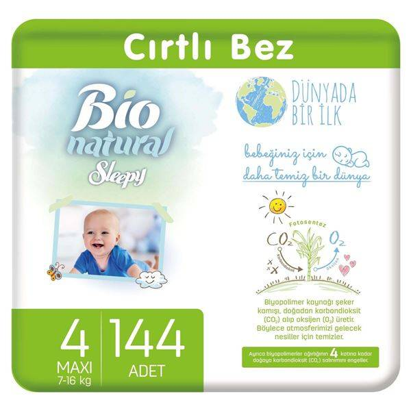 Bio Natural Bebek Bezi 4 Numara Maxi 144 Adet