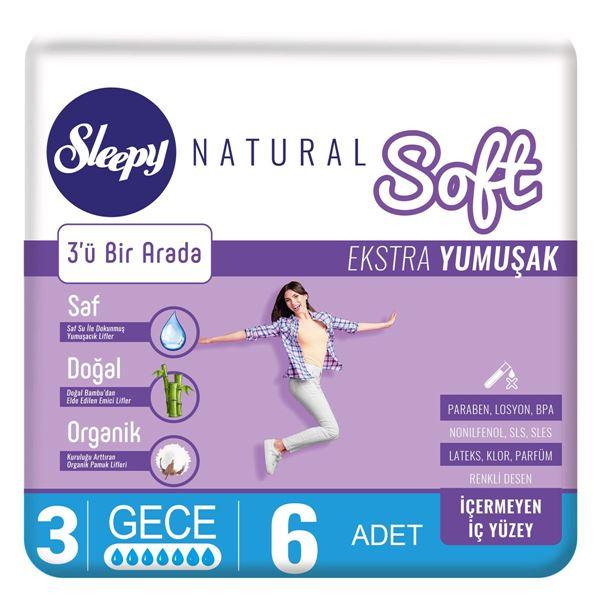 Sleepy Natural Soft Ekstra Yumuşak Gece (6 Ped)